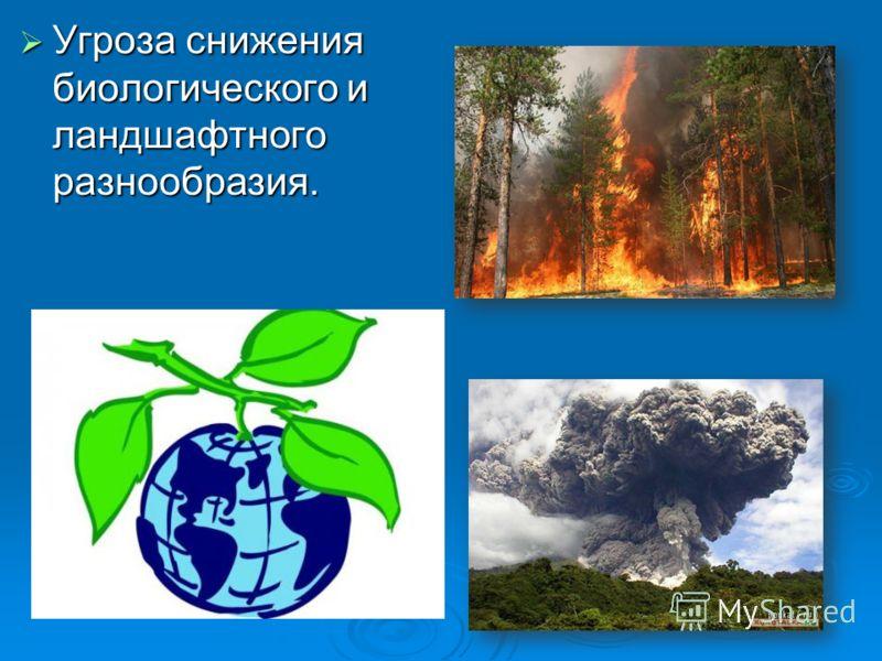 Угроза снижения биологического и ландшафтного разнообразия. Угроза снижения биологического и ландшафтного разнообразия.