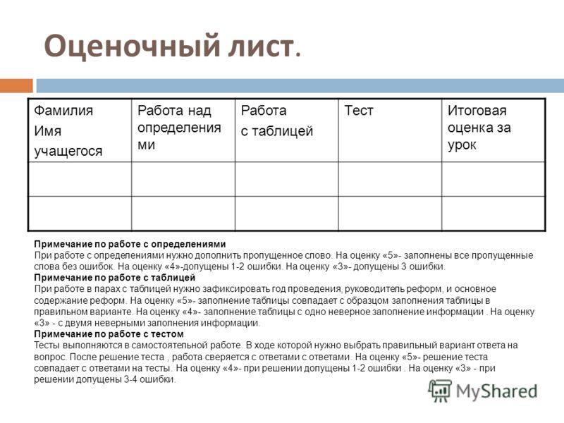 оценочный лист воспитателя образец