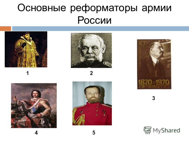 Основные реформаторы армии России 1 4 2 5 3