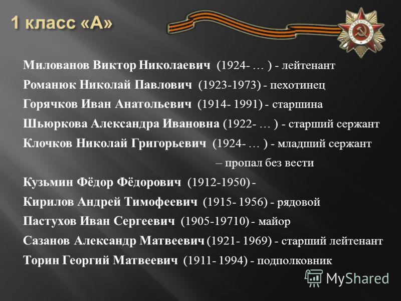 Милованов Виктор Николаевич (1924- … ) - лейтенант Романюк Николай Павлович (1923-1973) - пехотинец Горячков Иван Анатольевич (1914- 1991) - старшина Шьюркова Александра Ивановна (1922- … ) - старший сержант Клочков Николай Григорьевич (1924- … ) - м