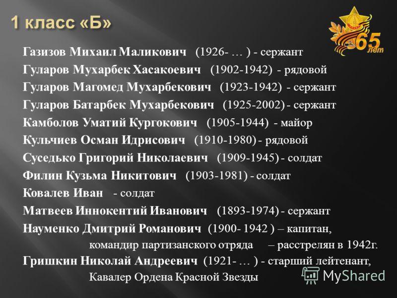 Газизов Михаил Маликович (1926- … ) - сержант Гуларов Мухарбек Хасакоевич (1902-1942) - рядовой Гуларов Магомед Мухарбекович (1923-1942) - сержант Гуларов Батарбек Мухарбекович (1925-2002) - сержант Камболов Уматий Кургокович (1905-1944) - майор Куль