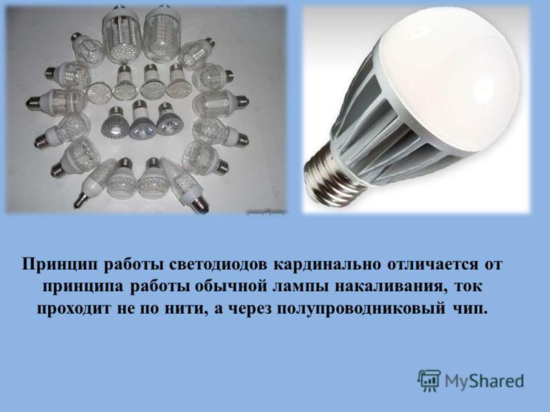 Принцип работы светодиодов кардинально отличается от принципа работы обычной лампы накаливания, ток проходит не по нити, а через полупроводниковый чип.