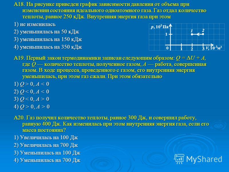 А18. На рисунке приведен график зависимости давления от объема при изменении состояния идеального одноатомного газа. Газ отдал количество теплоты, равное 250 кДж. Внутренняя энергия газа при этом 1) не изменилась 2) уменьшилась на 50 кДж 3) уменьшила
