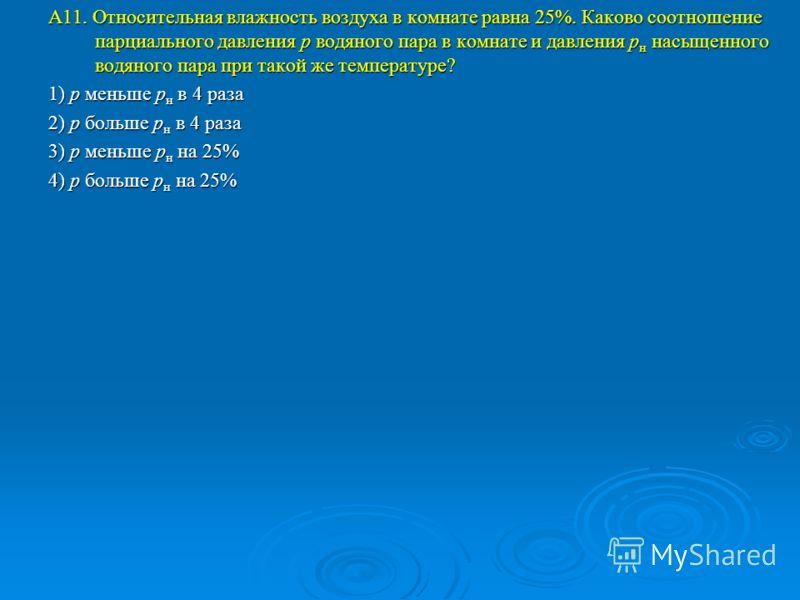 А11. Относительная влажность воздуха в комнате равна 25%. Каково соотношение парциального давления р водяного пара в комнате и давления р н насыщенного водяного пара при такой же температуре? 1) р меньше р н в 4 раза 2) р больше р н в 4 раза 3) р мен