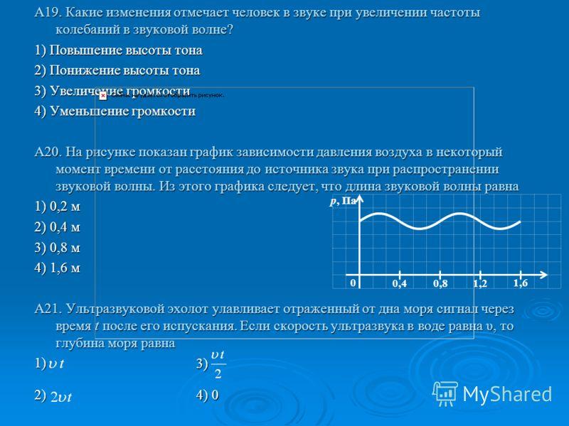 А19. Какие изменения отмечает человек в звуке при увеличении частоты колебаний в звуковой волне? 1) Повышение высоты тона 2) Понижение высоты тона 3) Увеличение громкости 4) Уменьшение громкости А20. На рисунке показан график зависимости давления воз