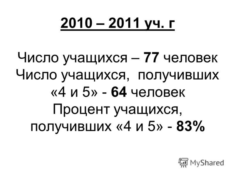 2010 – 2011 уч. г Число учащихся – 77 человек Число учащихся, получивших «4 и 5» - 64 человек Процент учащихся, получивших «4 и 5» - 83%
