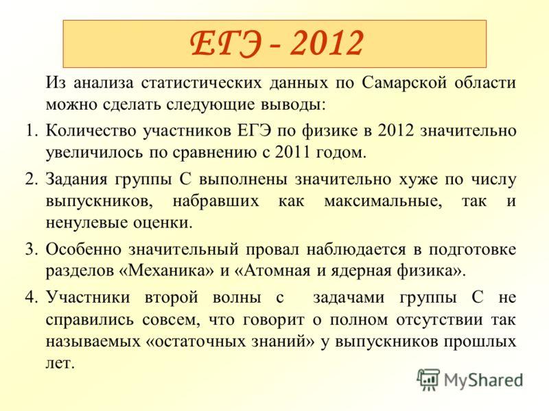 ЕГЭ - 2012 Из анализа статистических данных по Самарской области можно сделать следующие выводы: 1.Количество участников ЕГЭ по физике в 2012 значительно увеличилось по сравнению с 2011 годом. 2.Задания группы С выполнены значительно хуже по числу вы