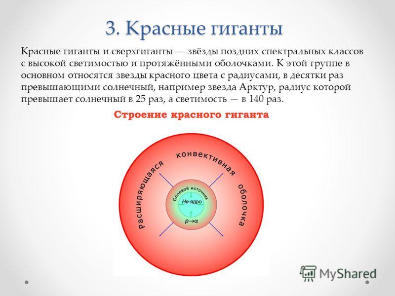 3. Красные гиганты Красные гиганты и сверхгиганты звёзды поздних спектральных классов с высокой светимостью и протяжёнными оболочками. К этой группе в основном относятся звезды красного цвета с радиусами, в десятки раз превышающими солнечный, наприме