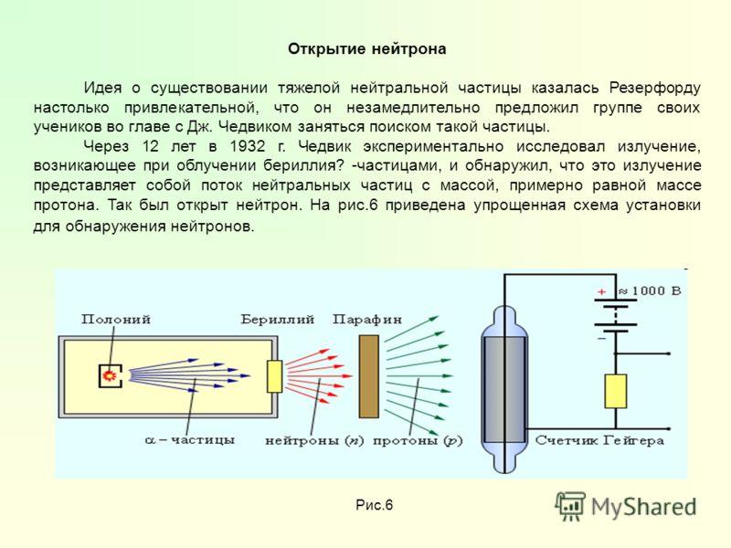 Открытие нейтрона Идея о существовании тяжелой нейтральной частицы казалась Резерфорду настолько привлекательной, что он незамедлительно предложил группе своих учеников во главе с Дж. Чедвиком заняться поиском такой частицы. Через 12 лет в 1932 г. Че