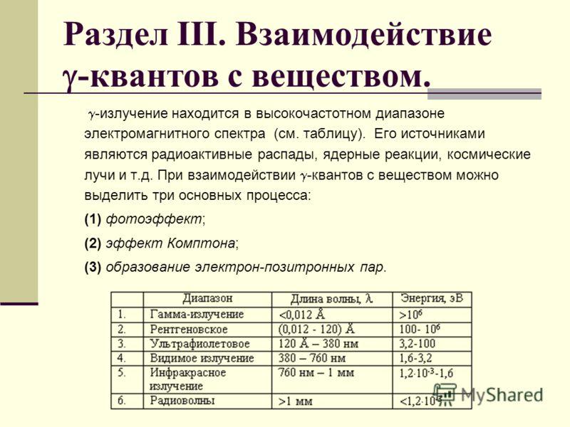 Раздел III. Взаимодействие -квантов с веществом. -излучение находится в высокочастотном диапазоне электромагнитного спектра (см. таблицу). Его источниками являются радиоактивные распады, ядерные реакции, космические лучи и т.д. При взаимодействии -кв