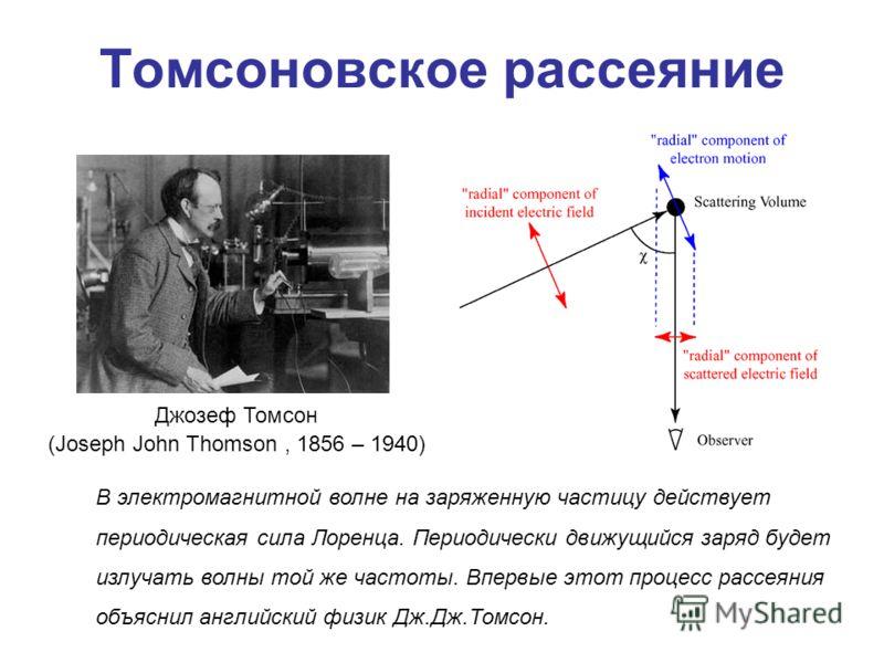 Томсоновское рассеяние Джозеф Томсон (Joseph John Thomson, 1856 – 1940) В электромагнитной волне на заряженную частицу действует периодическая сила Лоренца. Периодически движущийся заряд будет излучать волны той же частоты. Впервые этот процесс рассе