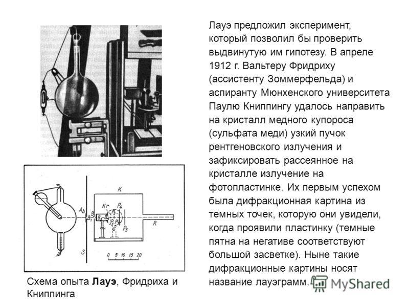 Лауэ предложил эксперимент, который позволил бы проверить выдвинутую им гипотезу. В апреле 1912 г. Вальтеру Фридриху (ассистенту Зоммерфельда) и аспиранту Мюнхенского университета Паулю Книппингу удалось направить на кристалл медного купороса (сульфа