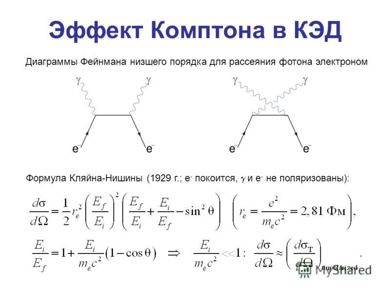 Эффект Комптона в КЭД Диаграммы Фейнмана низшего порядка для рассеяния фотона электроном Формула Кляйна-Нишины (1929 г.; e - покоится, и e - не поляризованы):