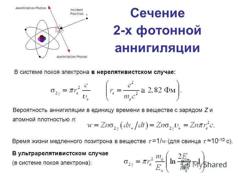 Сечение 2-х фотонной аннигиляции В системе покоя электрона в нерелятивистском случае: Вероятность аннигиляции в единицу времени в веществе с зарядом Z и атомной плотностью n: Время жизни медленного позитрона в веществе =1/ w (для свинца 10 -10 с). В