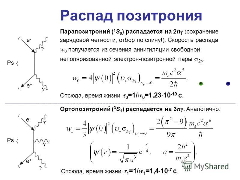 Распад позитрония Парапозитроний ( 1 S 0 ) распадается на 2n (сохранение зарядовой четности, отбор по спину!). Скорость распада w 0 получается из сечения аннигиляции свободной неполяризованной электрон-позитронной пары 2 : Ортопозитроний ( 3 S 1 ) ра