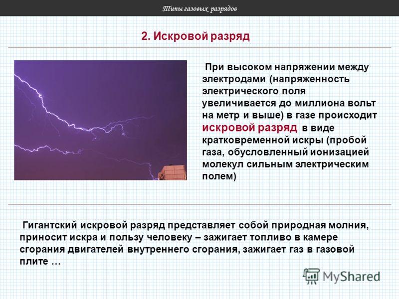 Типы газовых разрядов 2. Искровой разряд При высоком напряжении между электродами (напряженность электрического поля увеличивается до миллиона вольт на метр и выше) в газе происходит искровой разряд в виде кратковременной искры (пробой газа, обусловл