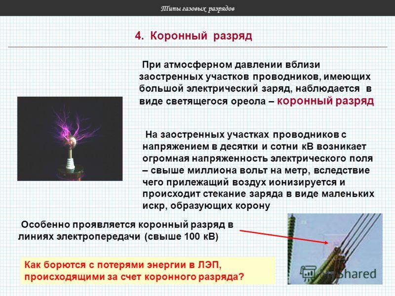 Типы газовых разрядов 4. Коронный разряд При атмосферном давлении вблизи заостренных участков проводников, имеющих большой электрический заряд, наблюдается в виде светящегося ореола – коронный разряд На заостренных участках проводников с напряжением