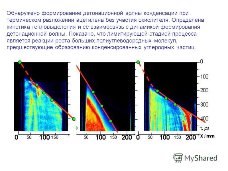 Обнаружено формирование детонационной волны конденсации при термическом разложении ацетилена без участия окислителя. Определена кинетика тепловыделения и ее взаимосвязь с динамикой формирования детонационной волны. Показано, что лимитирующей стадией