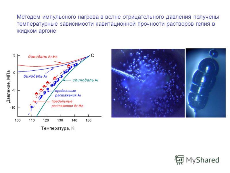 Методом импульсного нагрева в волне отрицательного давления получены температурные зависимости кавитационной прочности растворов гелия в жидком аргоне