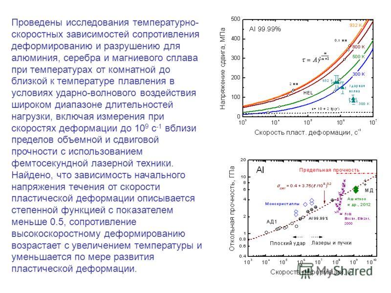 Проведены исследования температурно- скоростных зависимостей сопротивления деформированию и разрушению для алюминия, серебра и магниевого сплава при температурах от комнатной до близкой к температуре плавления в условиях ударно-волнового воздействия