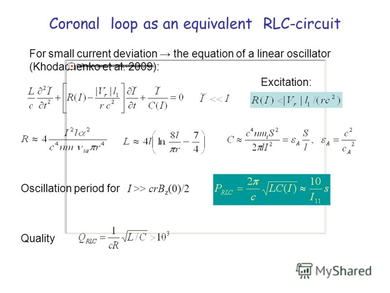 Coronal loop as an equivalent RLC-circuit For small current deviation the equation of a linear oscillator (Khodachenko et al. 2009): Excitation: Oscillation period for I >> crB z (0)/2 Quality
