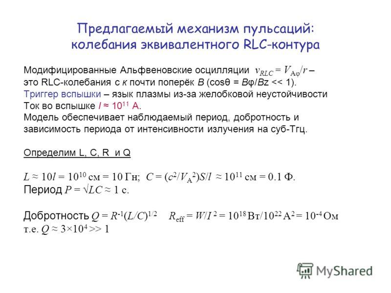 Предлагаемый механизм пульсаций: колебания эквивалентного RLC-контура Модифицированные Альфвеновские осцилляции ν RLC = V Aφ /r – это RLC-колебания с к почти поперёк В (cosθ = Bφ/Bz > 1