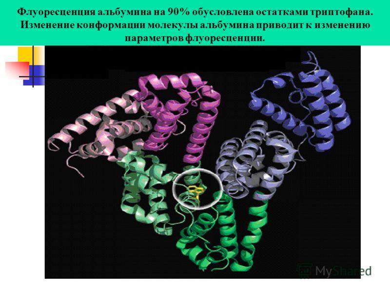 Флуоресценция альбумина на 90% обусловлена остатками триптофана. Изменение конформации молекулы альбумина приводит к изменению параметров флуоресценции.