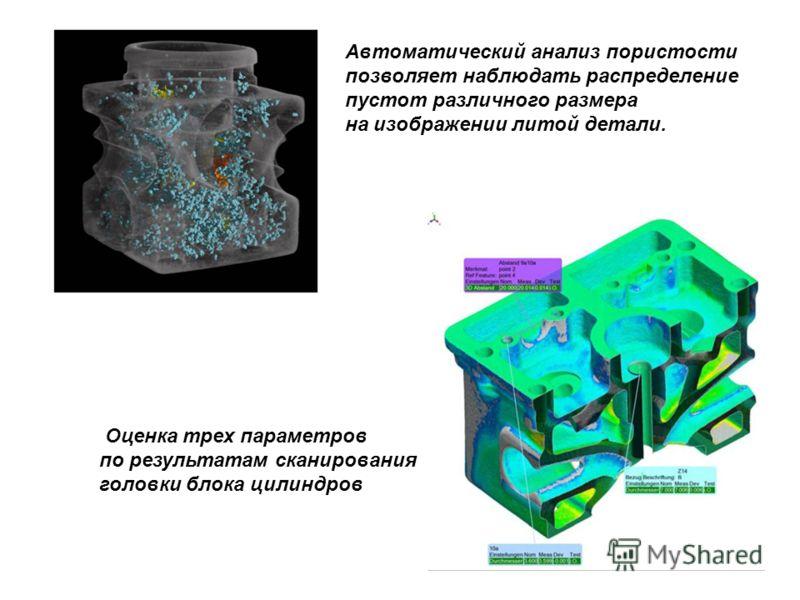 Оценка трех параметров по результатам сканирования головки блока цилиндров Автоматический анализ пористости позволяет наблюдать распределение пустот различного размера на изображении литой детали.