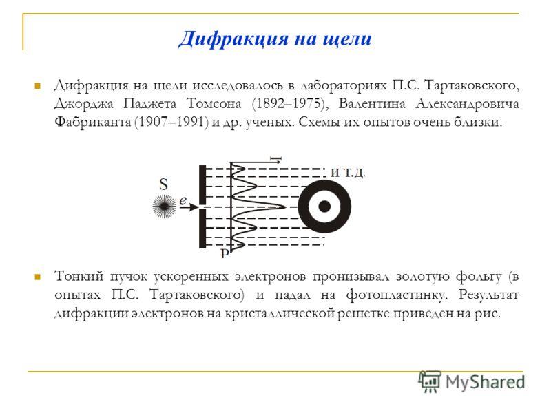 Дифракция на щели Дифракция на щели исследовалось в лабораториях П.С. Тартаковского, Джорджа Паджета Томсона (1892–1975), Валентина Александровича Фабриканта (1907–1991) и др. ученых. Схемы их опытов очень близки. Тонкий пучок ускоренных электронов п