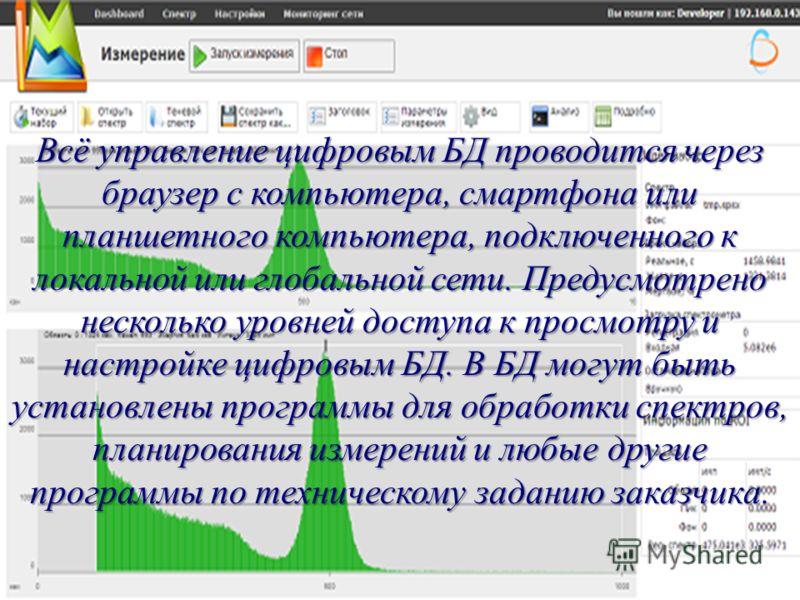 Всё управление цифровым БД проводится через браузер с компьютера, смартфона или планшетного компьютера, подключенного к локальной или глобальной сети. Предусмотрено несколько уровней доступа к просмотру и настройке цифровым БД. В БД могут быть устано