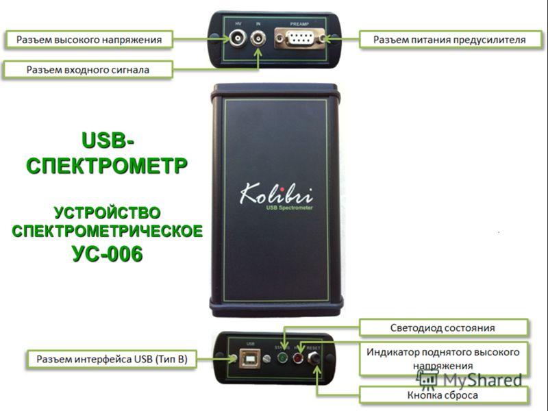 Таблица 1. USB- СПЕКТРОМЕТР УСТРОЙСТВО СПЕКТРОМЕТРИЧЕСКОЕ УС-006
