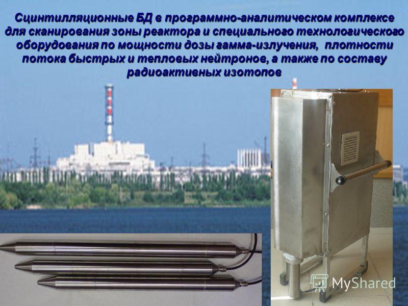 Таблица 1. Сцинтилляционные БД в программно-аналитическом комплексе для сканирования зоны реактора и специального технологического оборудования по мощности дозы гамма-излучения, плотности потока быстрых и тепловых нейтронов, а также по составу радиоа