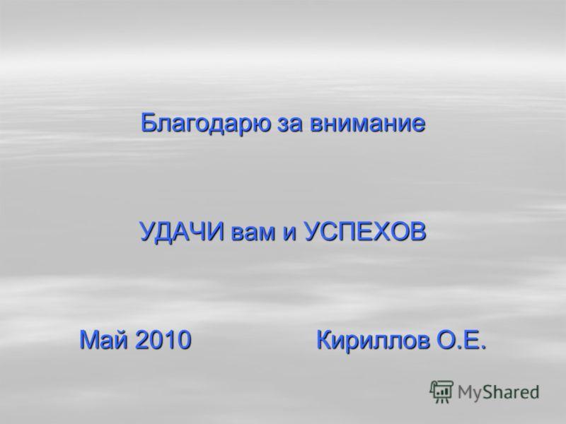 Благодарю за внимание УДАЧИ вам и УСПЕХОВ Май 2010 Кириллов О.Е.
