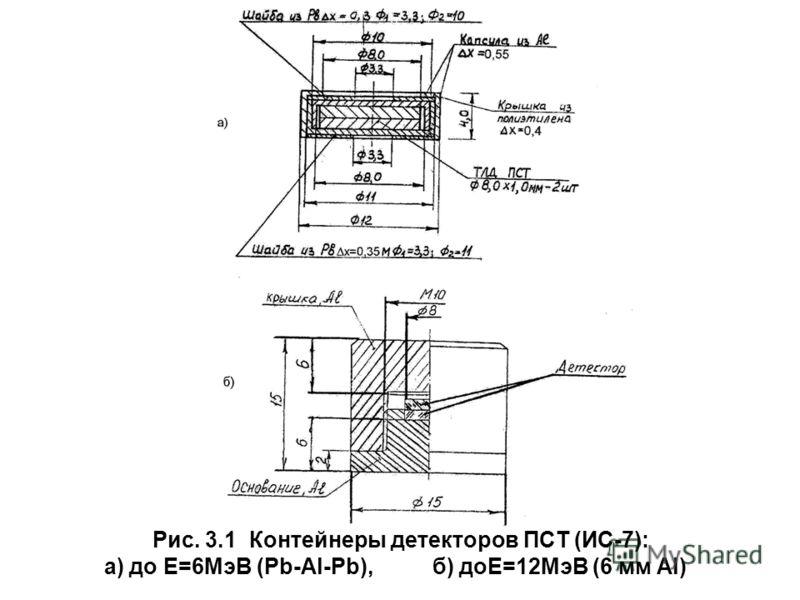 Рис. 3.1 Контейнеры детекторов ПСТ (ИС-7): а) до Е=6МэВ (Pb-Al-Pb), б) доЕ=12МэВ (6 мм Al)