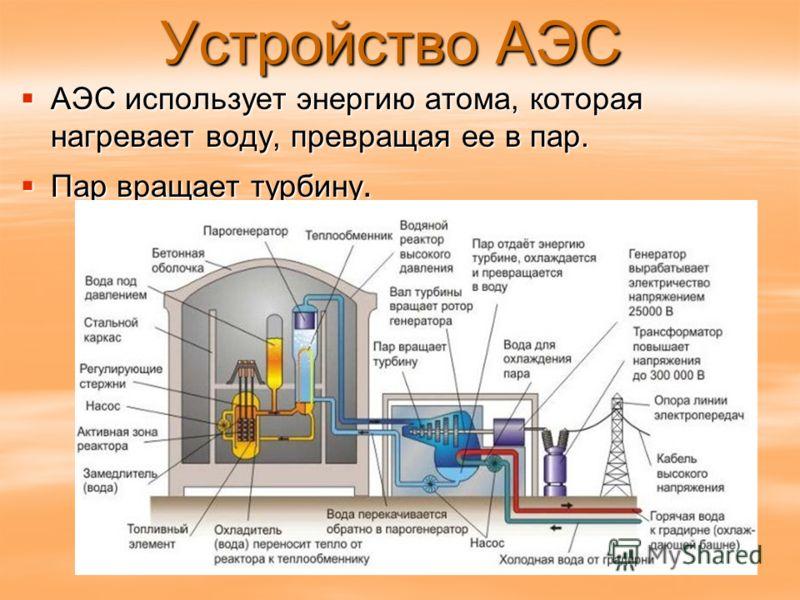 Устройство АЭС АЭС использует энергию атома, которая нагревает воду, превращая ее в пар. АЭС использует энергию атома, которая нагревает воду, превращая ее в пар. Пар вращает турбину. Пар вращает турбину.
