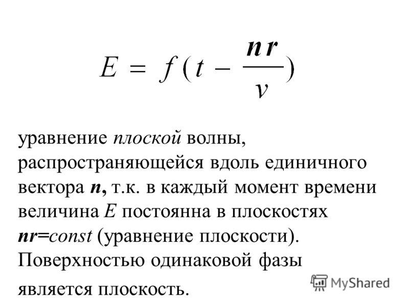 уравнение плоской волны, распространяющейся вдоль единичного вектора n, т.к. в каждый момент времени величина Е постоянна в плоскостях nr=const (уравнение плоскости). Поверхностью одинаковой фазы является плоскость.