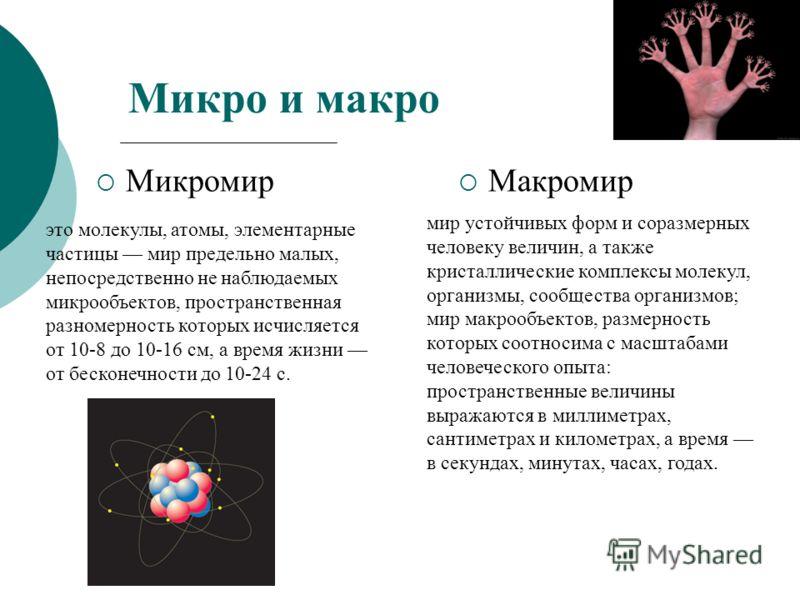 Микро и макро Микромир Макромир это молекулы, атомы, элементарные частицы мир предельно малых, непосредственно не наблюдаемых микрообъектов, пространственная разномерность которых исчисляется от 10-8 до 10-16 см, а время жизни от бесконечности до 10-