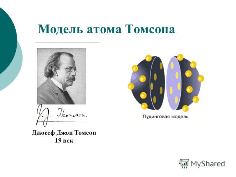 Модель атома Томсона Джосеф Джон Томсон 19 век