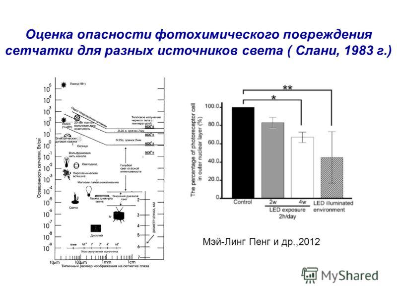 Оценка опасности фотохимического повреждения сетчатки для разных источников света ( Слани, 1983 г.) Мэй-Линг Пенг и др.,2012