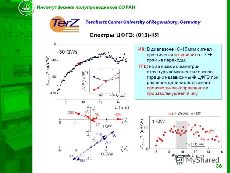 36 Terahertz Center University of Regensburg. Germany Спектры ЦФГЭ: (013)-КЯ ИК: В диапазоне 10÷15 мкм сигнал практически не зависит от прямые переходы. TГц: из-за низкой симметрии структуры компоненты тензоры гирации независимы ЦФГЭ при различных дл
