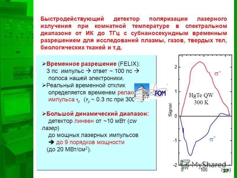 37 + - HgTe QW 300 K Временное разрешение (FELIX): 3 пс импульс ответ ~ 100 пс полоса нашей электроники. Реальный временной отклик определяется временем релаксации импульса p ( p ~ 0.3 пс при 300 K). Большой динамический диапазон: детектор линеен от
