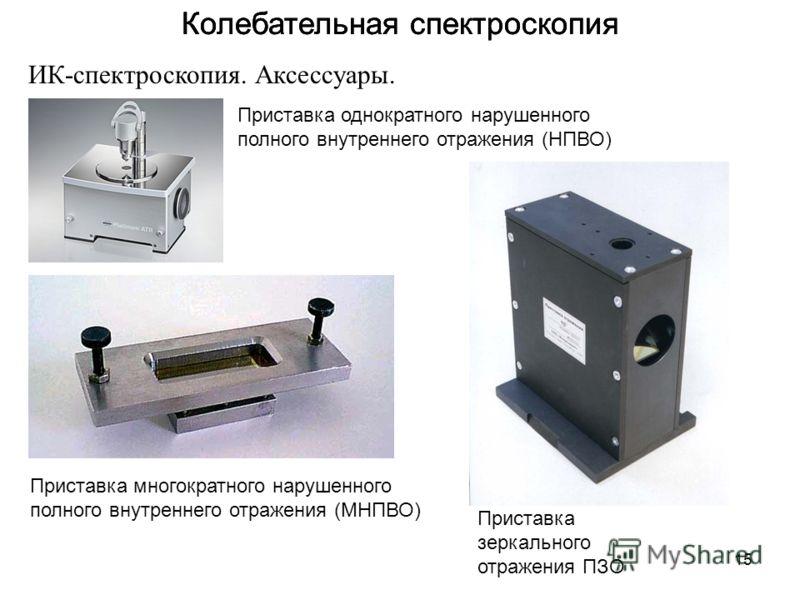 15 Колебательная спектроскопия ИК-спектроскопия. Аксессуары. Приставка однократного нарушенного полного внутреннего отражения (НПВО) Приставка многократного нарушенного полного внутреннего отражения (МНПВО) Приставка зеркального отражения ПЗО
