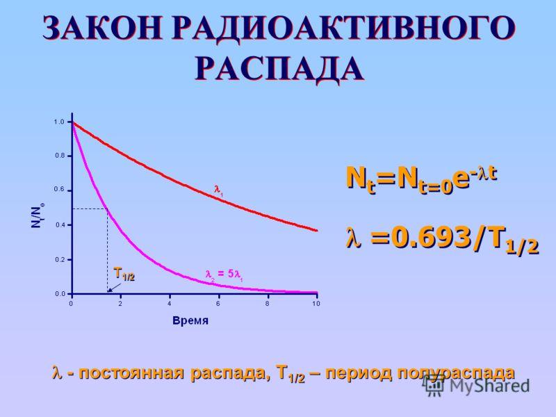 ЗАКОН РАДИОАКТИВНОГО РАСПАДА N t =N t=0 e - t =0.693/T 1/2 N t =N t=0 e - t =0.693/T 1/2 - постоянная распада, T 1/2 – период полураспада T 1/2