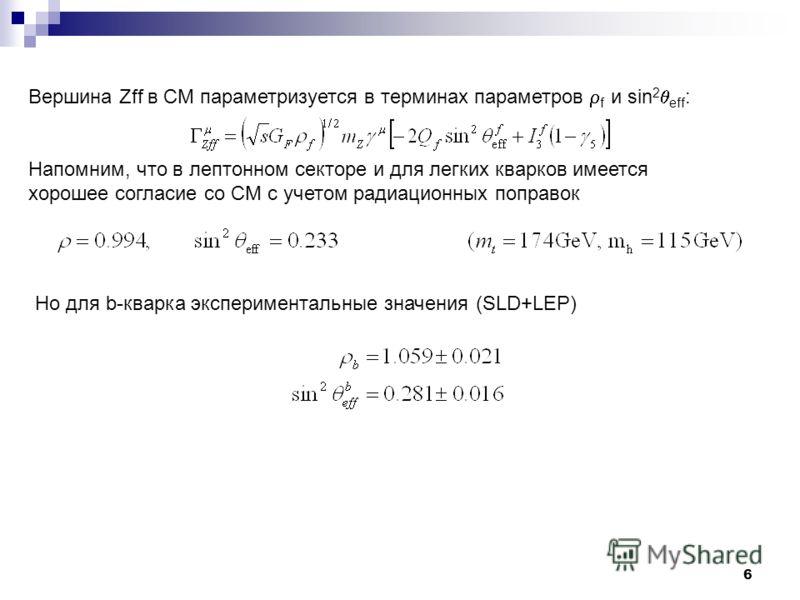 6 Вершина Zff в СМ параметризуется в терминах параметров f и sin 2 eff : Напомним, что в лептонном секторе и для легких кварков имеется хорошее согласие со СМ с учетом радиационных поправок Но для b-кварка экспериментальные значения (SLD+LEP)