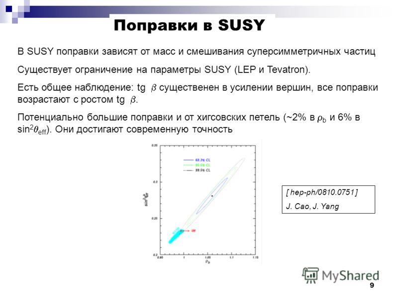 9 В SUSY поправки зависят от масс и смешивания суперсимметричных частиц Существует ограничение на параметры SUSY (LEP и Tevatron). Есть общее наблюдение: tg существенен в усилении вершин, все поправки возрастают с ростом tg. Потенциально большие попр