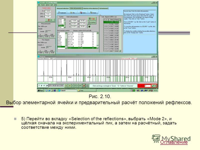 5) Перейти во вкладку «Selection of the reflections», выбрать «Mode 2», и щёлкая сначала на экспериментальный пик, а затем на расчётный, задать соответствие между ними. Рис. 2.10. Выбор элементарной ячейки и предварительный расчёт положений рефлексов