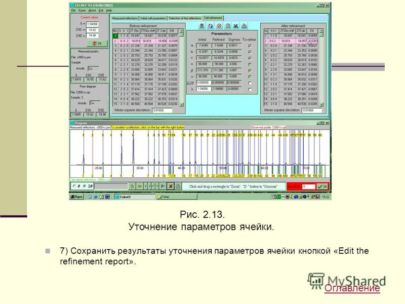 7) Сохранить результаты уточнения параметров ячейки кнопкой «Edit the refinement report». Рис. 2.13. Уточнение параметров ячейки. Оглавление