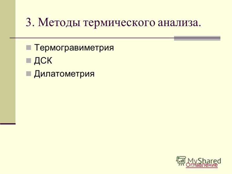 3. Методы термического анализа. Термогравиметрия ДСК Дилатометрия Оглавление