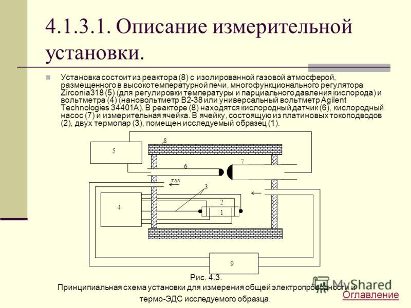 4.1.3.1. Описание измерительной установки. Установка состоит из реактора (8) с изолированной газовой атмосферой, размещенного в высокотемпературной печи, многофункционального регулятора Zirconia318 (5) (для регулировки температуры и парциального давл