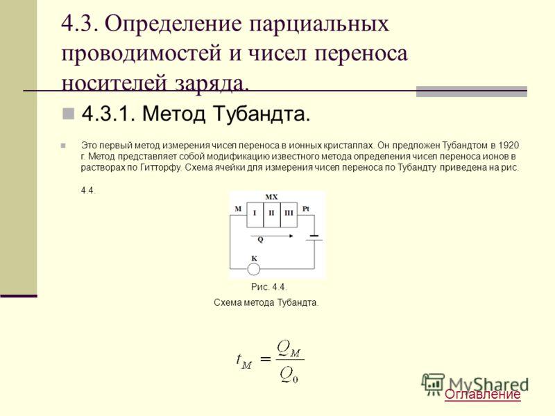 4.3. Определение парциальных проводимостей и чисел переноса носителей заряда. 4.3.1. Метод Тубандта. Это первый метод измерения чисел переноса в ионных кристаллах. Он предложен Тубандтом в 1920 г. Метод представляет собой модификацию известного метод